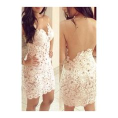 Rotita White Backless Floral Crochet Lace Party Club Dress ($22) ❤ liked on Polyvore featuring dresses, outfits, white, white dress, sexy mini dress, white sheath dress, lace cocktail dress and sexy party dresses