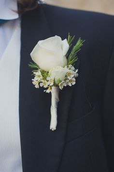White rose and rosemary #Buttonholes http://www.collection26.com/weddings/portfolio/
