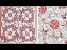 Crochet Flowers Easy Crochet flower EASY pattern Crochet flower square How to join motifs - Crochet Flower Squares, Flower Granny Square, Crochet Puff Flower, Crochet Unicorn, Granny Square Crochet Pattern, Crochet Flower Patterns, Crochet Motif, Knitting Patterns, Granny Squares