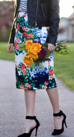 Floral Pencil Skirt, stripes, and a leather jacket