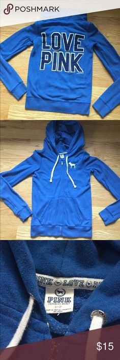 Blue PINK zip up hoodie Full front zip hoodie. Blue in color with navy and white stitching on back. Definitely broken in but in good shape. No holes, stains or flaws. Smoke free home. Bundle and offer 😁😁😁 PINK Victoria's Secret Tops Sweatshirts & Hoodies