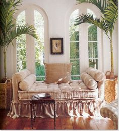 perfect sunroom daybed...not a fiddle leaf fig...but could work here too...