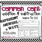 Common Core Addition & Subtraction Word Problems Sums to 20 1.OA.1$    This packet includes 20 brand new addition and subtraction word problems.  ...