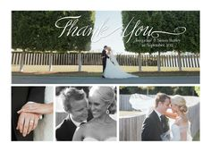 Simple 4 Photo Wedding Thank You Card by gwenmariedesigns on Etsy