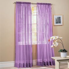 "Amazon.com: 2-Piece Solid Lavender Purple Sheer Window Curtains/Drape/Panels/Treatment 60""w X 84"": Home & Kitchen"