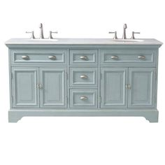 Home Decorators Collection Sadie 67 in. Double Vanity in Antique Blue with Marble Vanity Top in White-1666700350 - The Home Depot