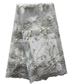 Beautiful silver lace fabric for wedding dress high quality tulle net lace fabric with beads embroidery mesh lace fabric 2017