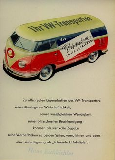 """VW Transporter as an advertising car, """"Die Visitenkarte ihres Betriebes"""", The business card of your company, late 1950s. Germany"""