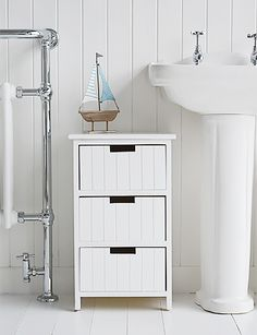 Brighton white bathroom cabinet furniture with drawers. Coastal style furniture and home decor accessories for your home Bathroom Tallboy, White Bathroom Furniture, Cabinet Furniture, Bathroom Interior, Bathroom Storage, Ikea Bathroom, Furniture Plans, Kids Furniture, Modern Bathroom