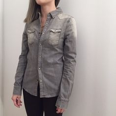 ALLSAINTS Denim Shirt - UK SIZE 6 - 100% Cotton - Crafted in a washed out denim - Slim fitting - Features western style paneling, and push stud button fastening, and twin chest pockets  It fits quite tight at the armhole / chest area on me if buttoned. In excellent condition. No trades. All Saints Tops Button Down Shirts
