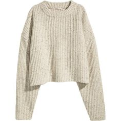 H&M Chunky-knit Wool Sweater $29.99 (€24) ❤ liked on Polyvore featuring tops, sweaters, white wool sweater, short white sweater, h&m tops, short tops and woolen sweater