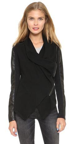 Blank Denim Vegan Leather & Ponte Jacket | SHOPBOP