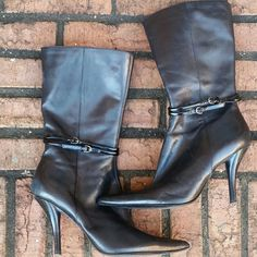 Black Leather Pointed Toe Boots Chic pointed toe leather boots with small buckle detail.  4-inch heels. Some minor scuffs in the leather. In great pre-loved condition. ?NO TRADES? Nine West Shoes Heeled Boots
