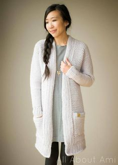 PDF PATTERN: Granite Cardigan Crochet Pattern - - - - - - - - - - - - - - - - - - - - - - - - - - - - - - - - - - - - - - - - - - - - - - - - Crochet the stylish and cozy Granite Cardigan! With long sleeves and pockets, this garment is perfect for chilly weather! The pattern is written