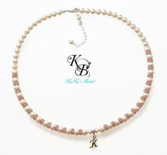 Personalized Flower Girl Necklace, Pink Necklace, Flower Girl Gift, Swarovski Pearl Necklace, Flower Girl Jewelry, Personalized Gift