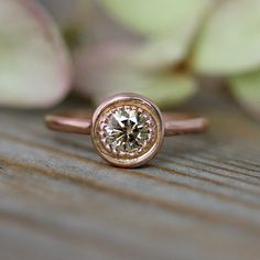 Conflict Free Champagne Diamond Halo Ring, 14k Recycled Rose Gold Engagement Ring in Halo Design and Diamond, Made To Order