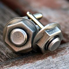 Cufflinks, Soldered Pewter - Nut and Bolt
