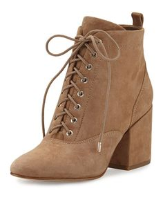 """Sam Edelman kid suede bootie. 2.8"""" covered block heel. Round toe. Lace-up front. Pull-tab at backstay. Side zip eases dress. Rubber outsole. """"Tate"""" is imported."""