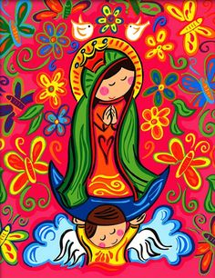 Our Lady of Guadalupe – Maflo´s World Art Pop, Catholic Art, Religious Art, Madonna, Holy Mary, Blessed Virgin Mary, Mexican Folk Art, Blessed Mother, Mother Mary