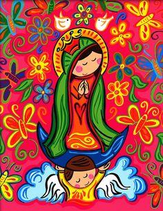 dibujo coloreado de virgen maria