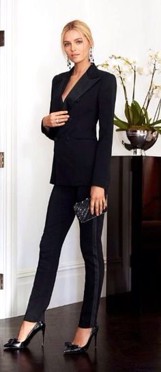 Women's Black Tuxedo Fitted Suit