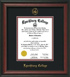 Lynchburg College Diploma Frame with premium hardwood moulding and official school seal and name embossing - superior UV glass - Black on Crimson mat. A great graduation gift!