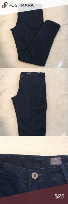 AG Cargo Skinnies Size 31 Super cute AG cargo Skinnies size 31. These jeans are in good used condition. No pills, pulls, and minor signs of wear. There is minor fading on the cargo pockets and around the fly that is the extent of the minor wear. They are the perfect step up from your normal skinny jeans! Ag Adriano Goldschmied Jeans Skinny
