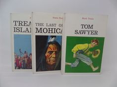 3 Vintage Gift Books -Tom Sawyer, Treasure Island, The Last of The Mohicans Books - 1973 by CellarDeals on Etsy