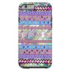 Trendy Pink Purple Girly Abstract Tribal Pattern iPhone 6 Case