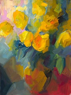 Yellow Roses - oil by ©Lena Levin - http://lena-levin.blogspot.com/2012/10/yellow-roses.html