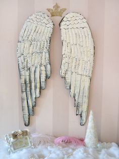 Shabby Cottage Chic Angel Wings Long White Rustic French Style Holiday Wall Pair | eBay