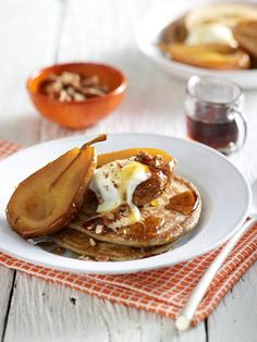 Buckwheat Pancakes with Baked Pears (recipe from 'Ancient Grains Cookbook' by Catherine Saxelby) and on our website!