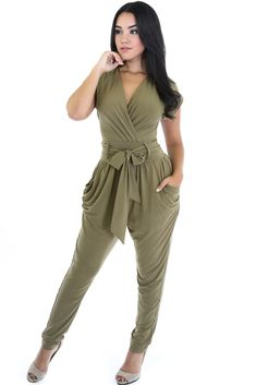Olive Relaxed Loose Fitting Jumpsuit with Belt