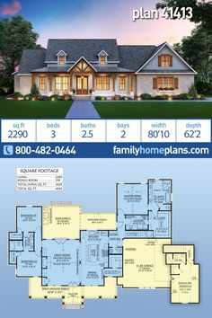 Farmhouse Home Plan is 2290 Sq Ft, 3 Bedrooms, Bathrooms and an Outdoor Kitchen - Modern Farmhouse Plans and Country Living Designs - Elegant farmhouse home plan with just almost 2300 square feet of heated living space. A three-bedro - House Plans One Story, Family House Plans, Ranch House Plans, New House Plans, Dream House Plans, Dream Houses, 4 Bedroom House Plans, House Plans With Garage, New Houses