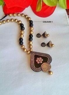 Dotted Heart Shape Pendant Terracotta Jewelry Set