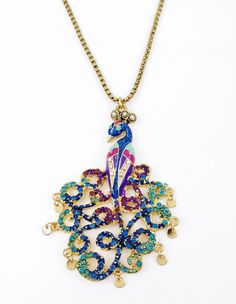 BETSEY JOHNSON Morocco Adventure Peacock Gold-Tone Pendant Necklace #BetseyJohnson #Pendant