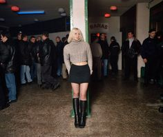 """In his book """"DISKO"""" photographer Andrew Miksys documents Lithuanian teens in village clubs. The project captures an astonishing mixture of Soviet-era debris and a hopeful new generation. Mtv, Grunge, Tumblr, Youth Culture, Party Looks, Fashion Studio, Girls Wear, Retro, Leather Skirt"""