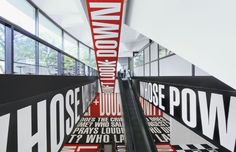 "Barbara Kruger has recently transformed the Hirshhorn Museum in Washington, D.C for her latest installation work entitled ""Belief+Doubt"", set to open August 20th and remain there until 2014. For this show Barbara has changed the entire setup of the museum, changing the layout so that the whole ground level is available to show her work. This is a major exhibition as the Hirshhorn Museum is located in the National Mall. Check out these preview pics of the exhibition. Enjoy"