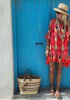 Bright dress + Straw tote