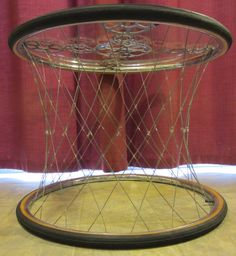 Recycled bicycle rim coffee/ end table by BCACycles on Etsy, $350.00. Too cool!