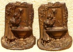Pair of Vintage Cast Metal Gilded Book Ends