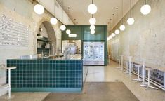 Hecker Guthrie has created a new flagship for Melbourne gelateria, Piccolina, echoing Southern Italy—from the colourways through to the theatre of gelato, and the idea of home cooking and gathering around the kitchen. Cafe Bar, Cafe Restaurant, Restaurant Design, Cafe Interior Design, Cafe Design, Café Bistro, Dark Interiors, Retail Design, Interiores Design