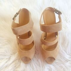 JCREW TAN SUEDE HEELS Only worn once!! Very teeny tiny spots (pen prick size) that are normal wear and very minimal dirt on toe area. These are basically like new! Worn once  **remember to bundle and save 10%** no holds/no trades/no modeling/no asking for lowest J. Crew Shoes Heels