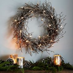 LED glitter wreath at  West Elm
