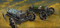 Miller's Marvels by David Lozeau Skeleton Racing Cars Canvas Art Print