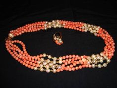 Amazing 14K Gold Vintage Five Strand Coral Beads and Pearls Necklace & Ring