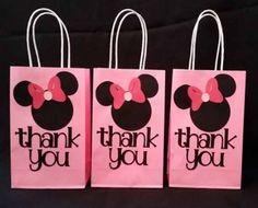 Minnie Mouse party favor thank you bag by MrsCustomCreations on Etsy… Minnie Mouse Birthday Theme, Minnie Mouse Baby Shower, Mickey Party, Minnie Mouse Party, Mouse Parties, Minnie Mouse Favors, Mini Mouse Party Favors, Disney Parties, Pirate Party