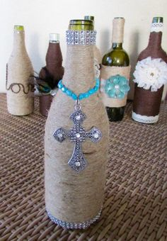 Decorative Twine Wrapped Wine Bottle by NoReinsBoutique on Etsy
