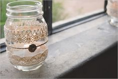 lace wrapped mason jar used for tealights