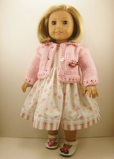 18 Inch Doll Clothes Fits American Girl Pink Hand Knitted Sweater and Sleeveless Dress